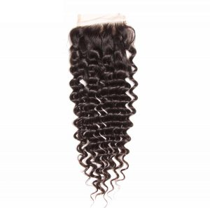 Free part 4×4 Brazilian deep wave lace closure