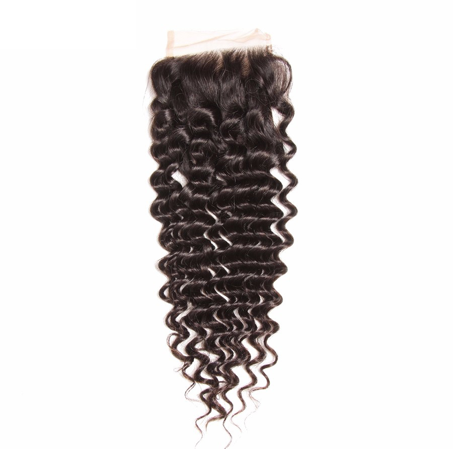 Free Part 4x4 Brazilian Deep Wave Lace Closure
