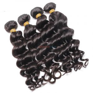 natual color 1b loose wave Brazilian hair extensions