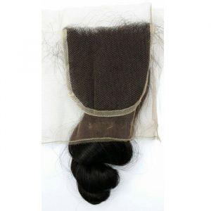 Brazilian loose curl lace top closure
