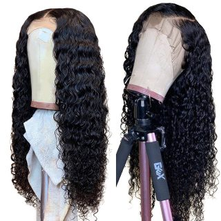 Lsy Indian Deep Wave Swiss Lace Frontal Wig 10-24 Inch Glueless Lace Front Wigs Natural Black Alimice Wigs For Black Women