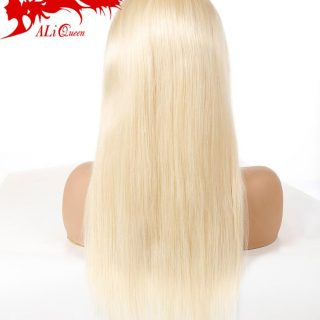 Aliqueen Express Promotion European Russian Blonde 613 Brazilian Straight Virgin Remy Human Hair Lace Front Wig