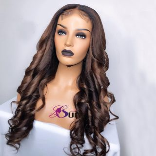 Pre Plucked 4*4 Honey Brown human hair wigs loose Wave Cuticle Aligned Hair Lace closure Wigs for black women