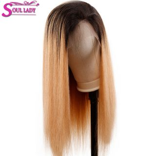 Wholesale 180 Percent Human Virgin Straight Remy Brazilian Hair Ombre Color 1b/27 Swiss Lace Front Wig