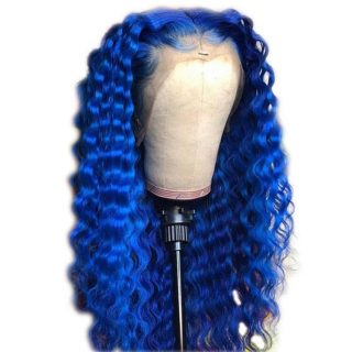 Wholesale 18inch virgin cuticle aligned pre plucked  hairline long curly brazilian blue human hair lace front wig